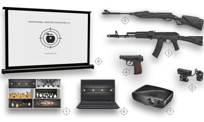 Комплект стрелкового тира с винтовкой, автоматом и пистолетом